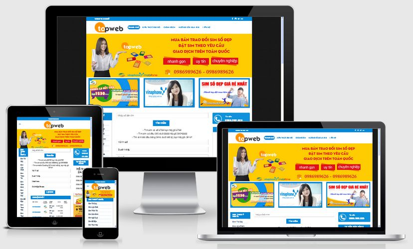 Mẫu website bán sim số đẹp