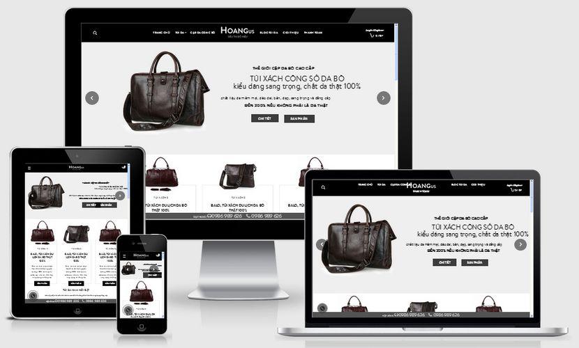 Mẫu website bán đồ da hàng hiệu