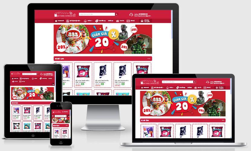 Mẫu website bán hàng quà tặng Express