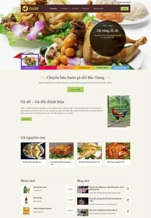 Mẫu website nhà hàng Ga98 đẹp 9