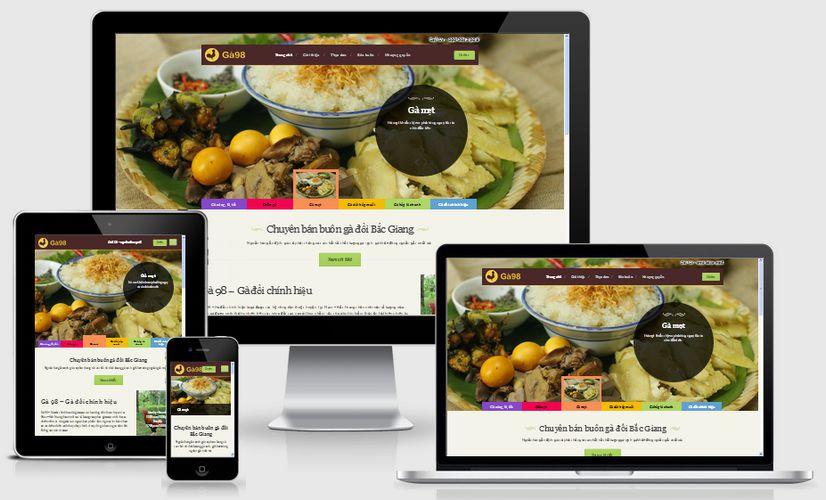 Mẫu website nhà hàng Ga98 đẹp