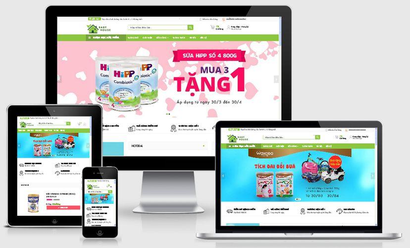 Mẫu website TMĐT mẹ và bé