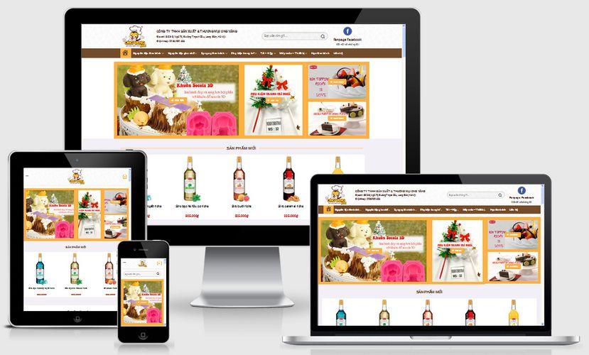 Mẫu website nguyên liệu làm bánh