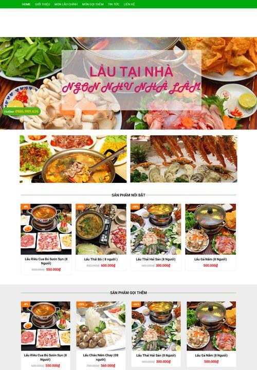 Mẫu website nhà hàng lẩu tại nhà 6