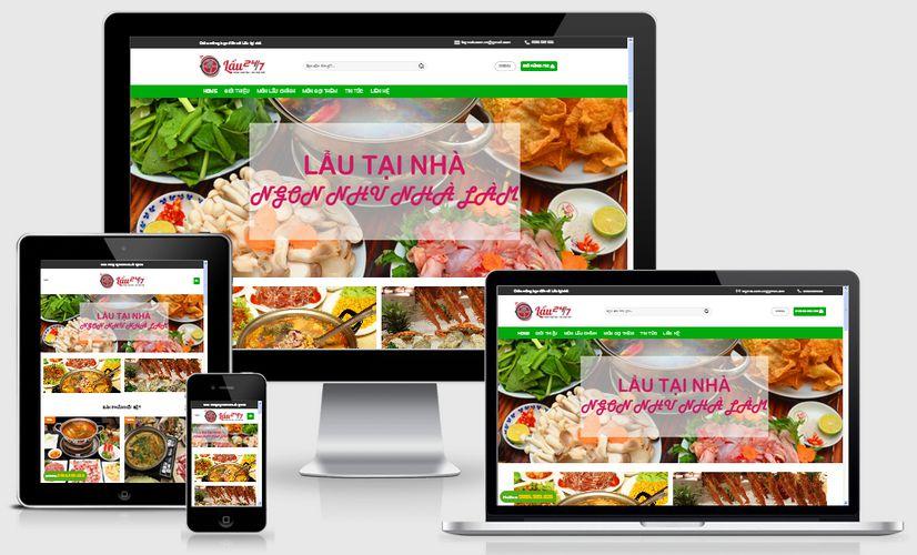 Mẫu website nhà hàng lẩu tại nhà