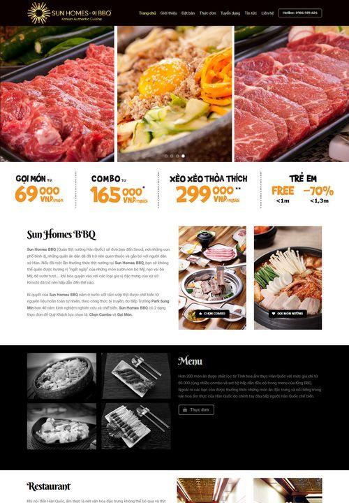 Mẫu website nhà hàng lẩu nướng BBQ 5