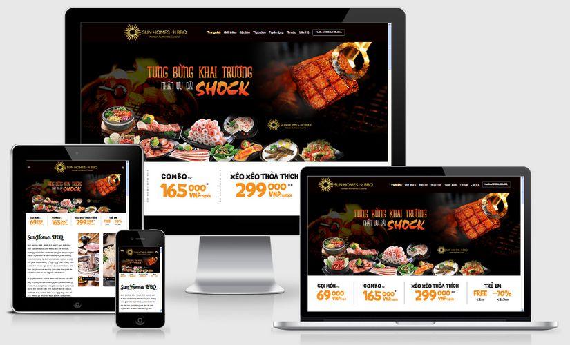 Mẫu website nhà hàng lẩu nướng BBQ