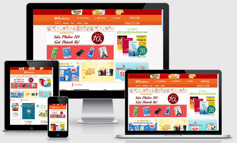 Mẫu website bán sách trực tuyến