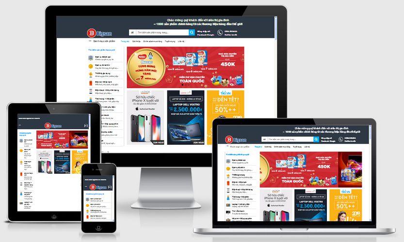 Mẫu website siêu thị gia đình tổng hợp