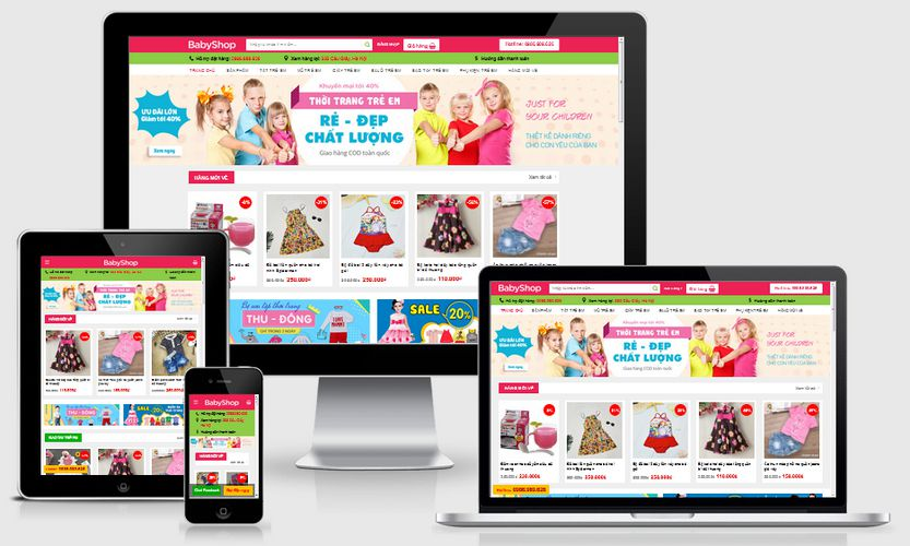 Mẫu website bán đồ trẻ em đẹp