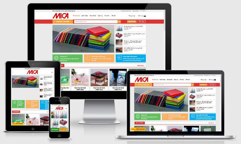 Mẫu website bán sản phẩm từ Mica