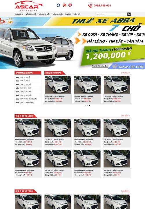 Mẫu website cho thuê xe ô tô 8