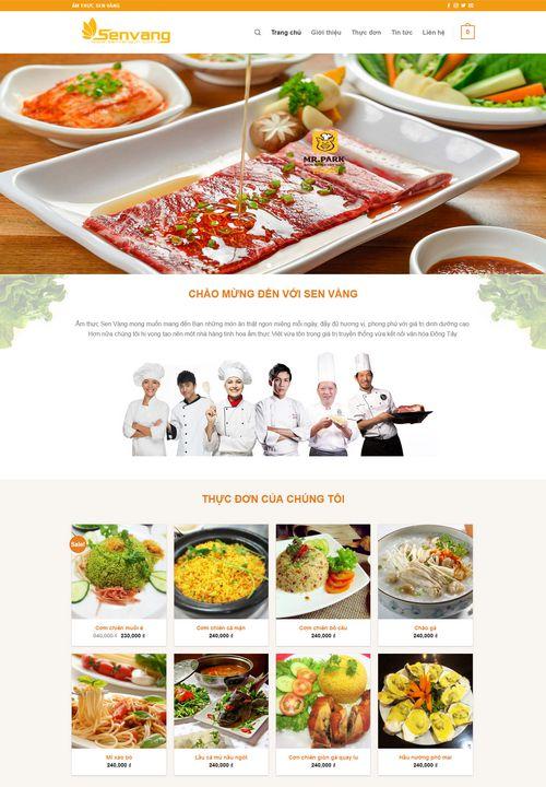 Mẫu website nhà hàng Sen Vàng 2