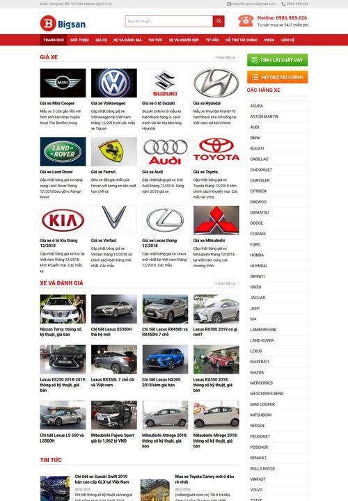 Mẫu website giá xe ô tô đẹp 6