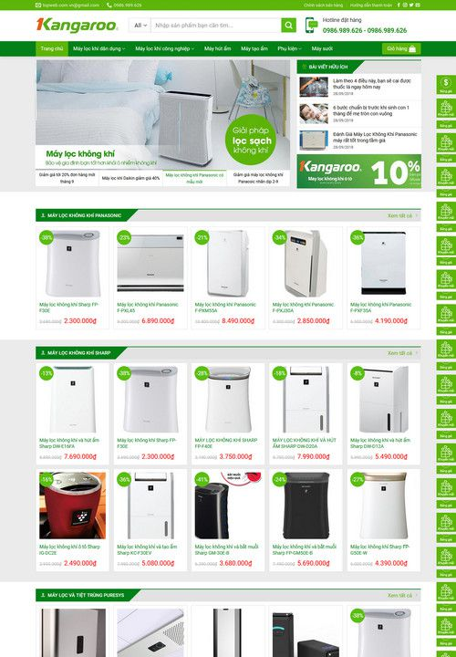 Mẫu website máy lọc không khí đẹp 6