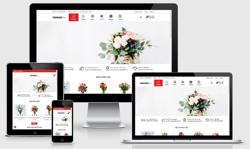 Mẫu website shop hoa đẹp