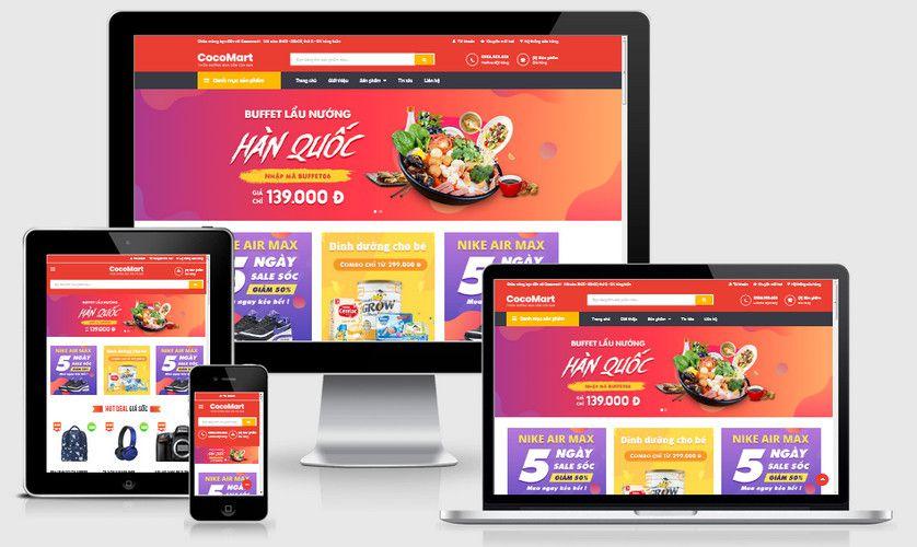 Mẫu website siêu thị bán lẻ đẹp
