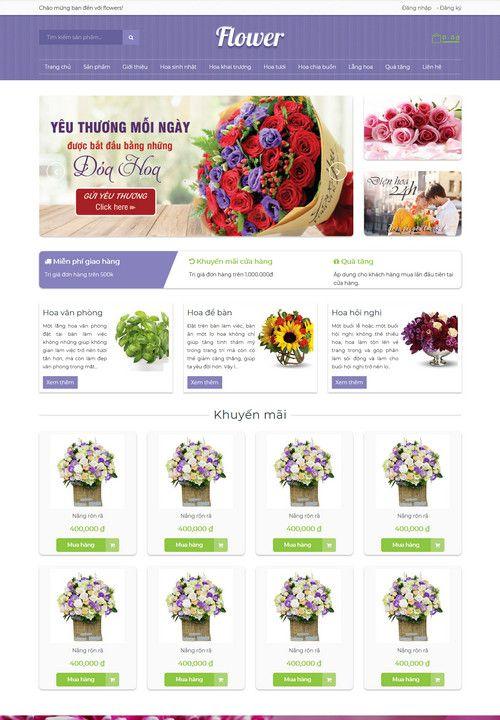 Mẫu website siêu thị hoa đẹp 7