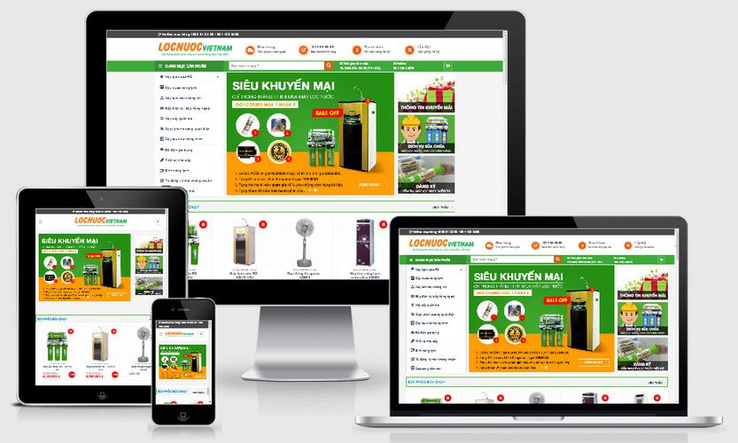 Giao diện website máy lọc nước