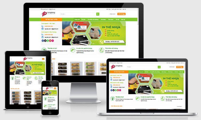 Mẫu website dịch vụ in thẻ nhựa PVC