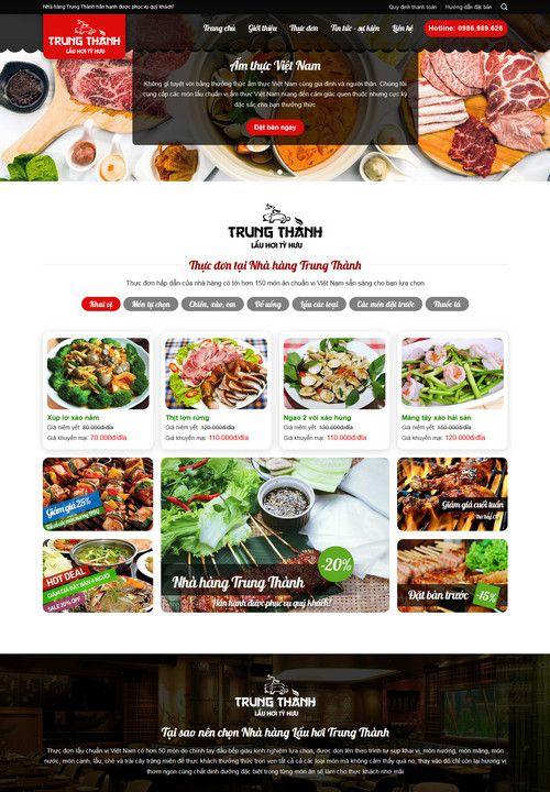 Mẫu website nhà hàng lẩu hơi 1