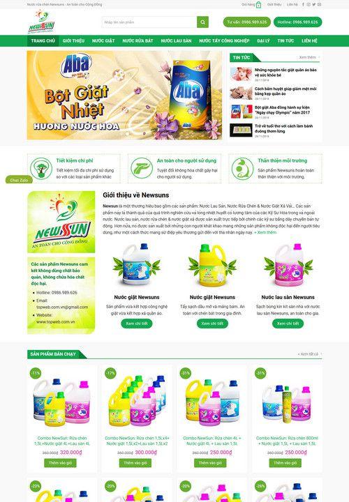 Mẫu website bán nước tẩy rửa bột giặt 1