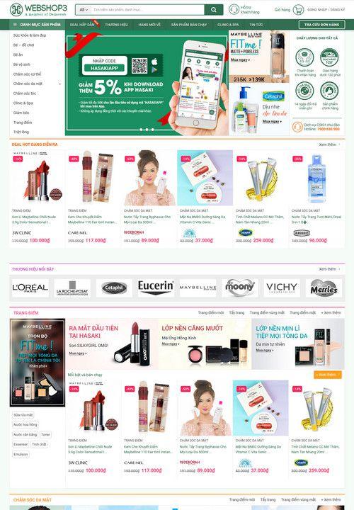 Mẫu website shop mỹ phẩm làm đẹp 1