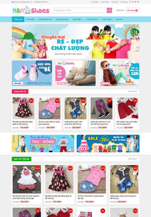Mẫu website bán hàng thời trang trẻ em 2