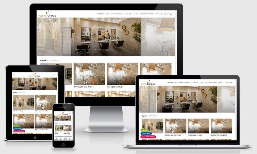 Mẫu website thiết kế thi công nội thất