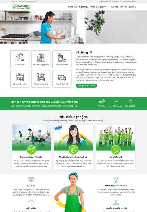 Mẫu website dịch vụ vệ sinh tạp vụ 1