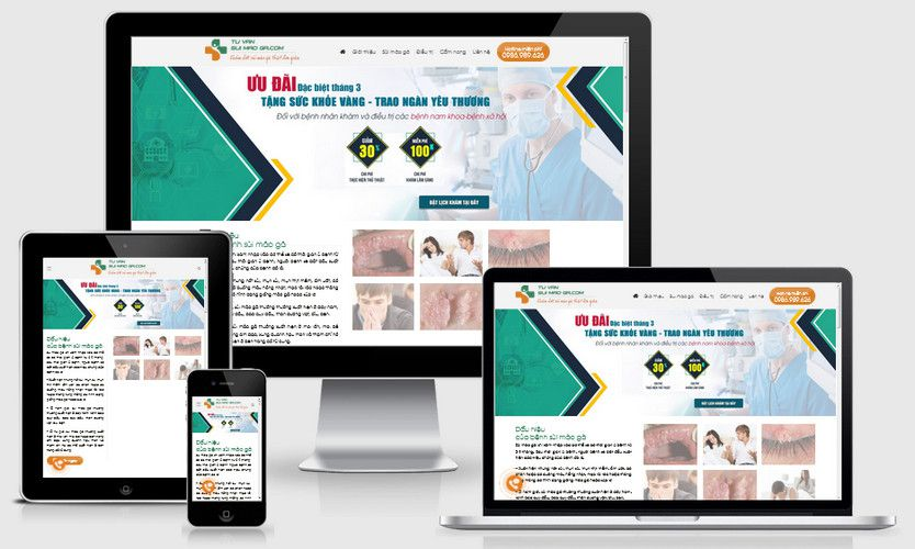 Mẫu website phòng khám nam khoa