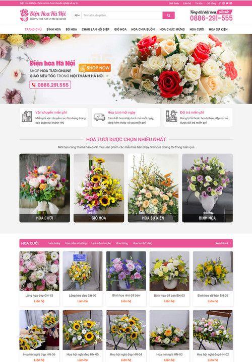 Mẫu website shop bán hoa tươi 1