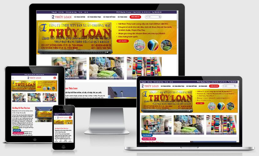 Mẫu website shop bán vải