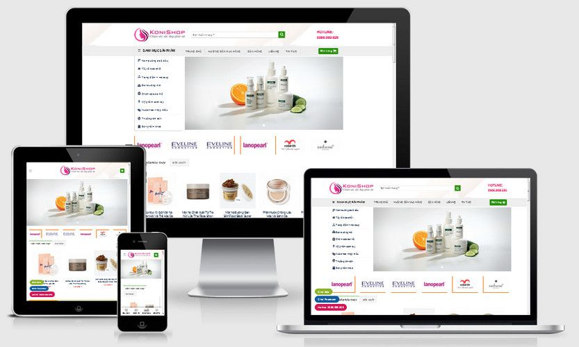 Mẫu website mỹ phẩm Hàn Quốc