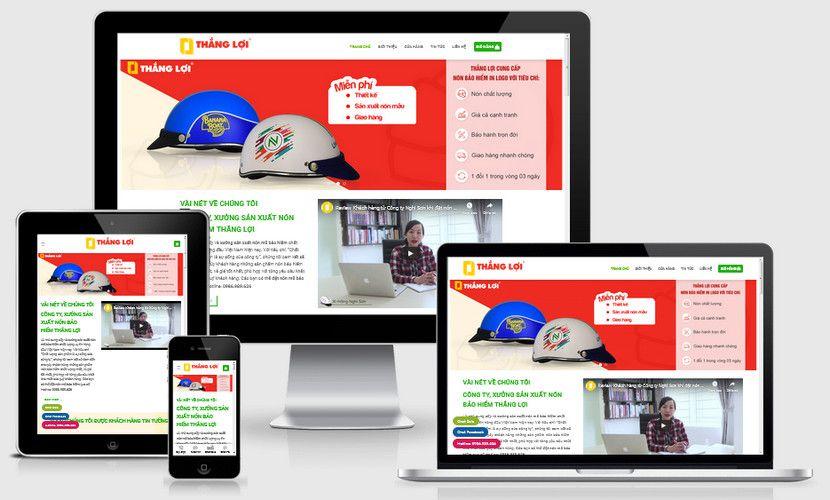 Mẫu website bán mũ nón bảo hiểm