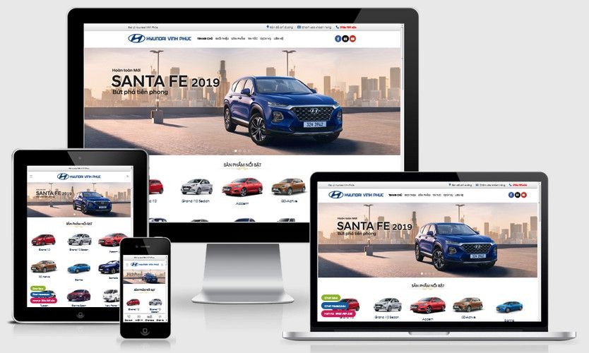 Mẫu website ô tô Huyndai Vĩnh Phúc
