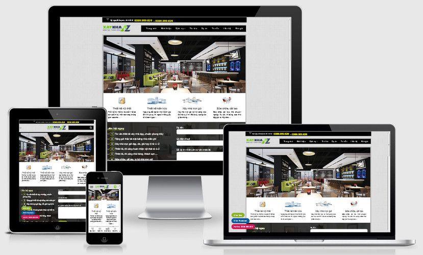 Mẫu website thiết kế nội thất xây nhà AZ