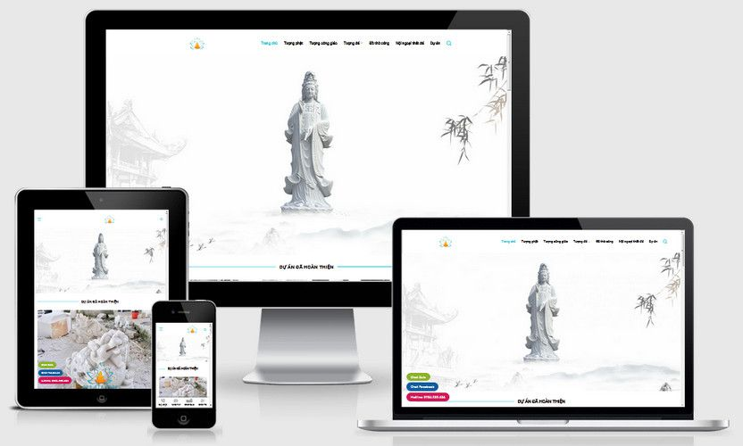 Mẫu website tượng phật đá