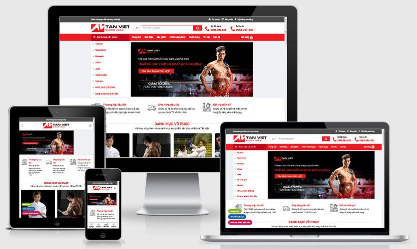 Mẫu website shop bán đồ võ thuật