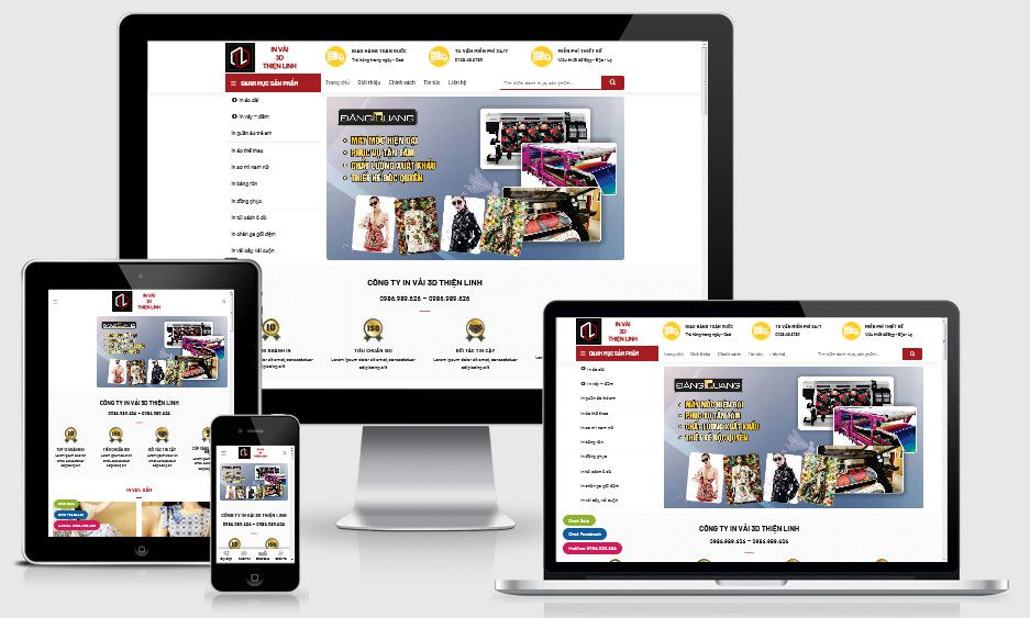 Mẫu website in nhiệt 3D thời trang