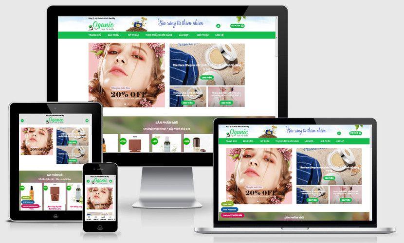 Mẫu website mỹ phẩm Oganic