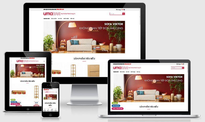 Mẫu website nội thất xinh UMA