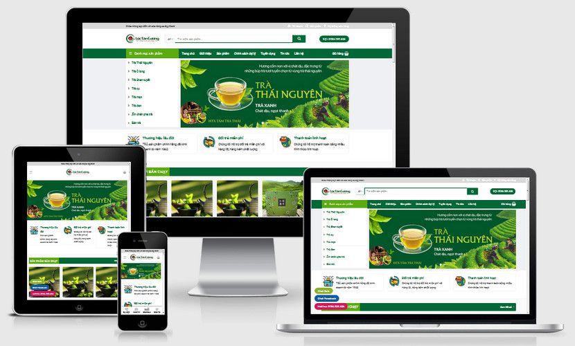 Mẫu website trà xanh Thái Nguyên